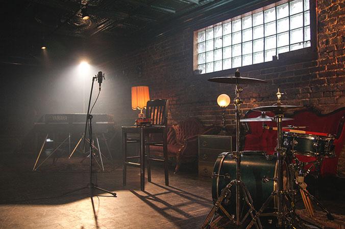 basement turned into music studio