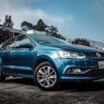 blue volkswagen polo hatchback